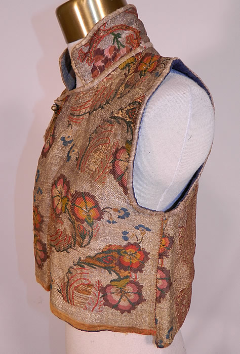 Antique 19th Century Chinese Tibetan Gold Lame Brocade Sleeveless Monks Vest Lamé