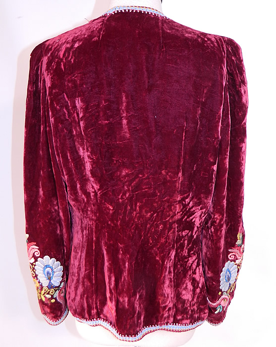 Vintage Peasant Art Importing Co NY Label Red Velvet Embroidered Boho Jacket