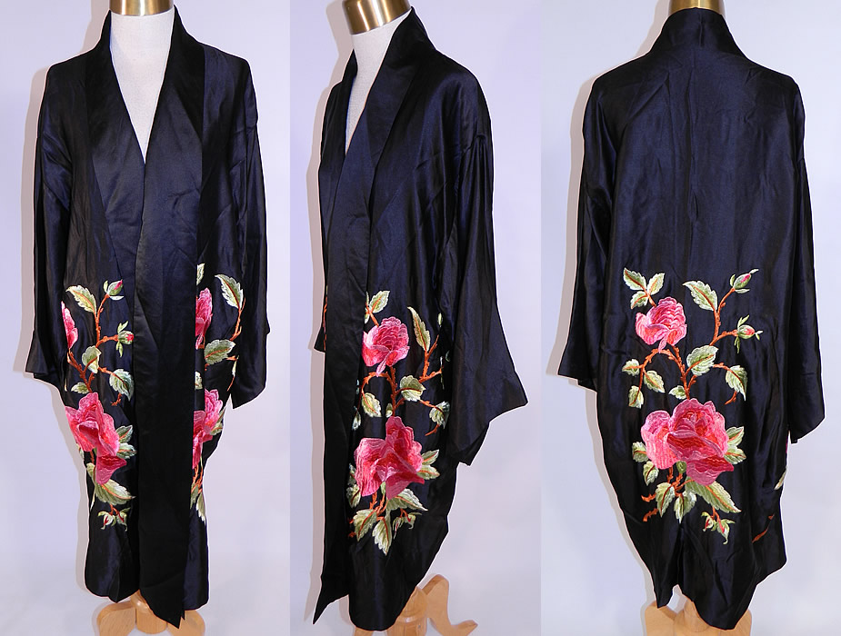 Vintage Art Deco Black Silk Embroidered Pink Roses Flapper Kimono Robe Coat
