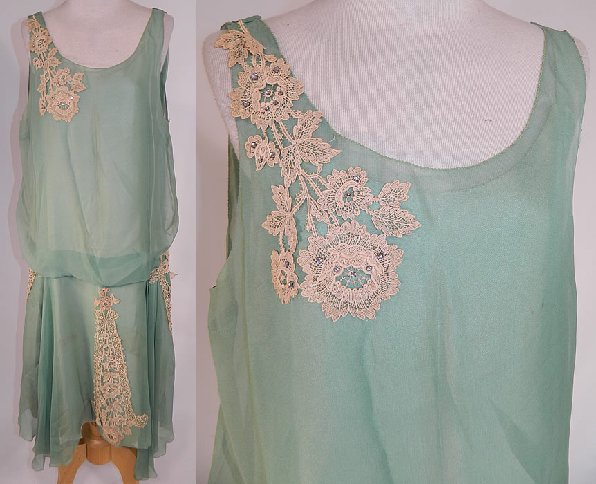 Vintage Mint Green Silk Chiffon Lace Applique Rhinestone Trim Drop Waist Dress