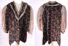 Edwardian Vintage Black Velvet Gold Print Peacock Hurricane Eye Cyclone Coat