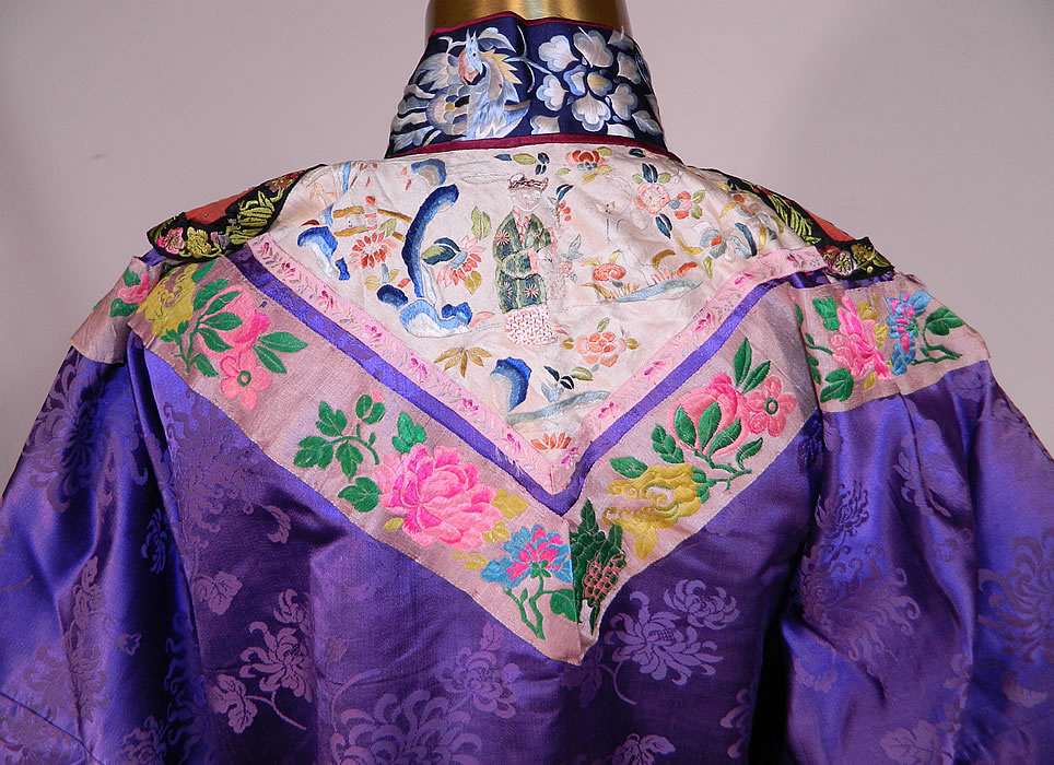 Antique Chinese Purple Silk Damask Floral Brocade Figural Embroidered Trim Robe