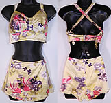 Vintage Gantner Goldfish Print Pinup Girl 2 Piece Swimsuit Bikini Bra Skirt Front Trunks