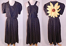 Vintage 1940s Navy Blue Yellow Sunflower Novelty Print Silk Sun Dress & Jacket