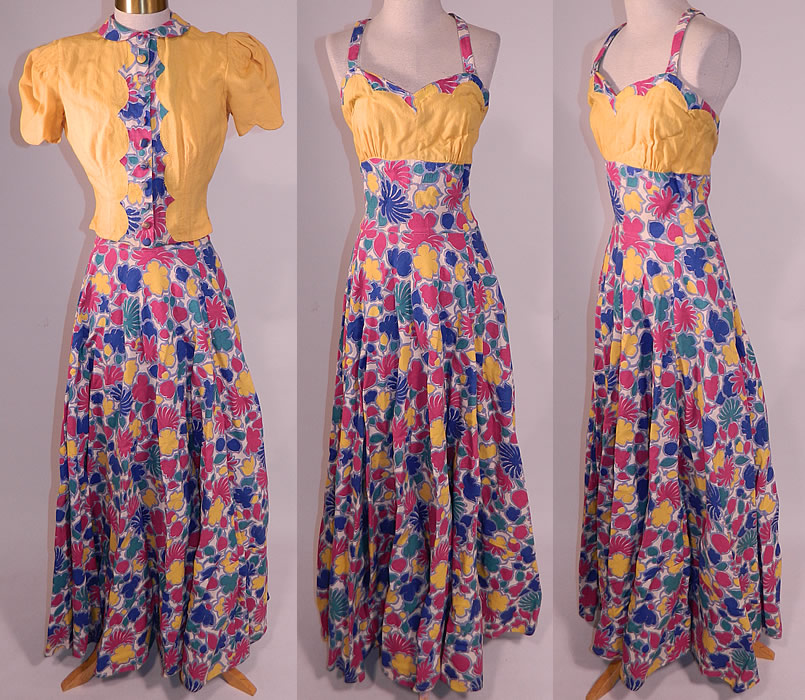 Vintage Colorful Cotton Pique Floral Print Halter Top Dress Gown & Jacket