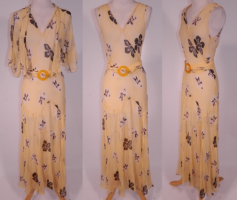 Vintage Yellow Silk Chiffon Black Floral Print Belted Bias Cut Dress & Jacket