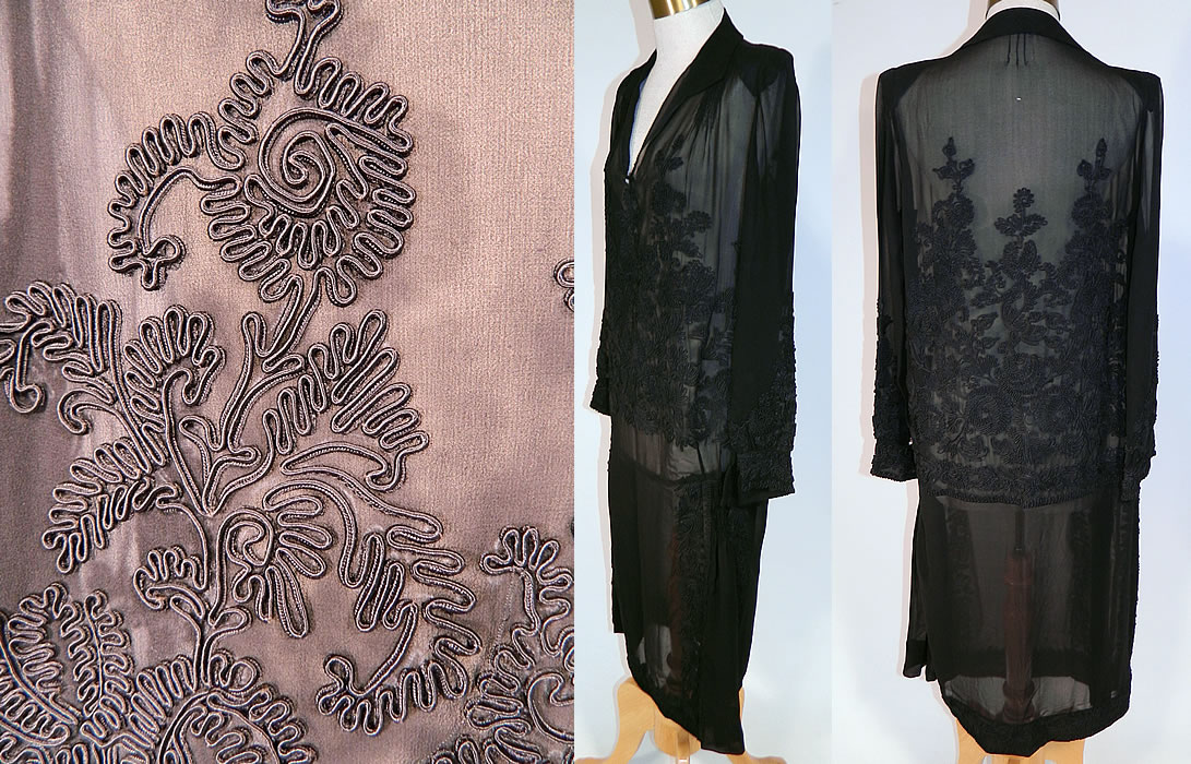 Vintage Black Silk Soutache Embroidered Drop Waist Dress