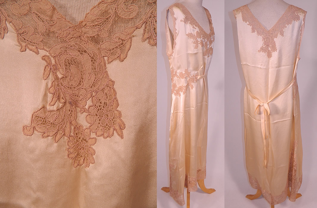 Vintage Cream Silk Ecru Lace Boudoir Belted Bias Cut Negligee Nightgown