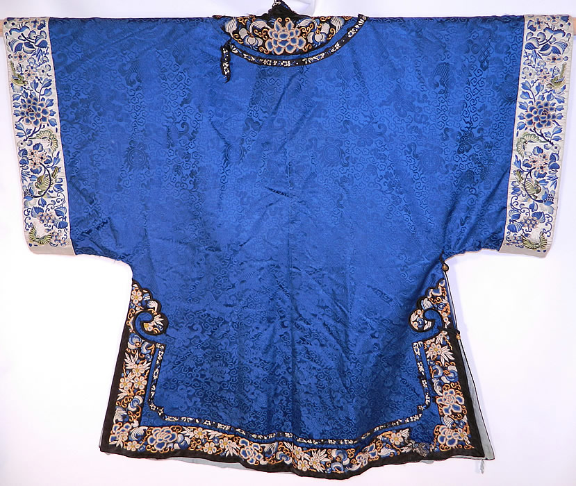 Antique Chinese Blue Silk Damask Brocade Forbidden Stitch Embroidered Trim Robe