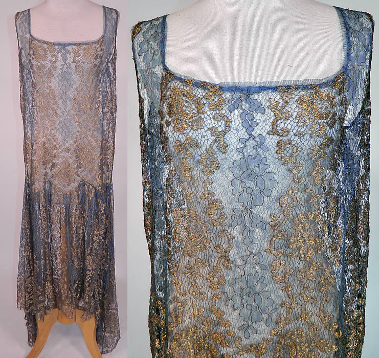 Art Deco Blue Net Gold Lamé Lame Lace Handkerchief Skirt Drop Waist Flapper Dress