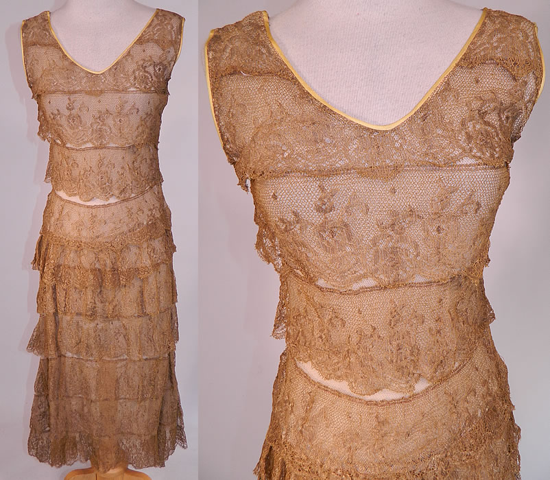 Vintage Gold Metallic Lamé Lame Lace Layered Tiered Ruffle Tango Flapper Dress 