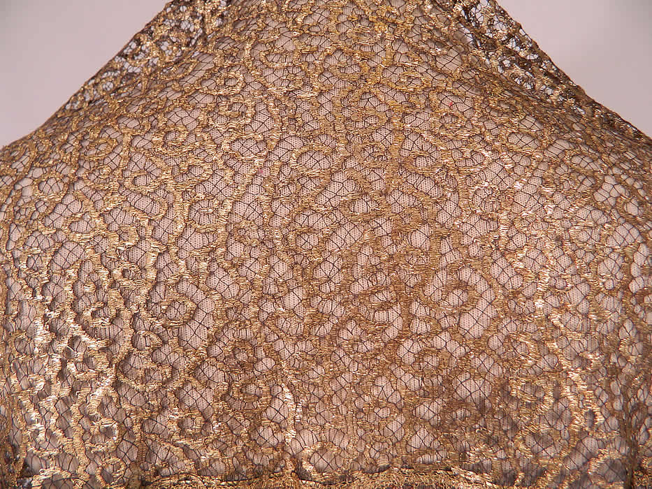 Vintage Sheer Black Mesh Net Copper Gold Lamé Lame Lace Art Deco Flapper Shawl