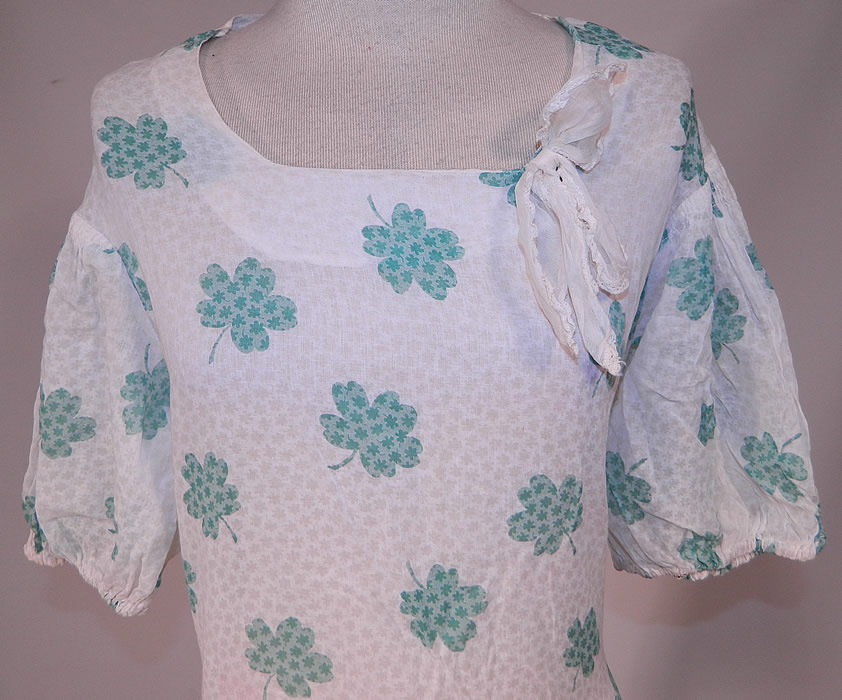 Vintage Green Shamrock Clover Print White Cotton Bias Cut St. Patricks Day Dress