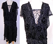 Vintage Silver Lace Black Burnout Voided Velvet Silk Drop Waist Flapper Dress