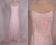 Vintage White Organdy Pink Embroidered Flower Formal Gown Skirt Train Dress