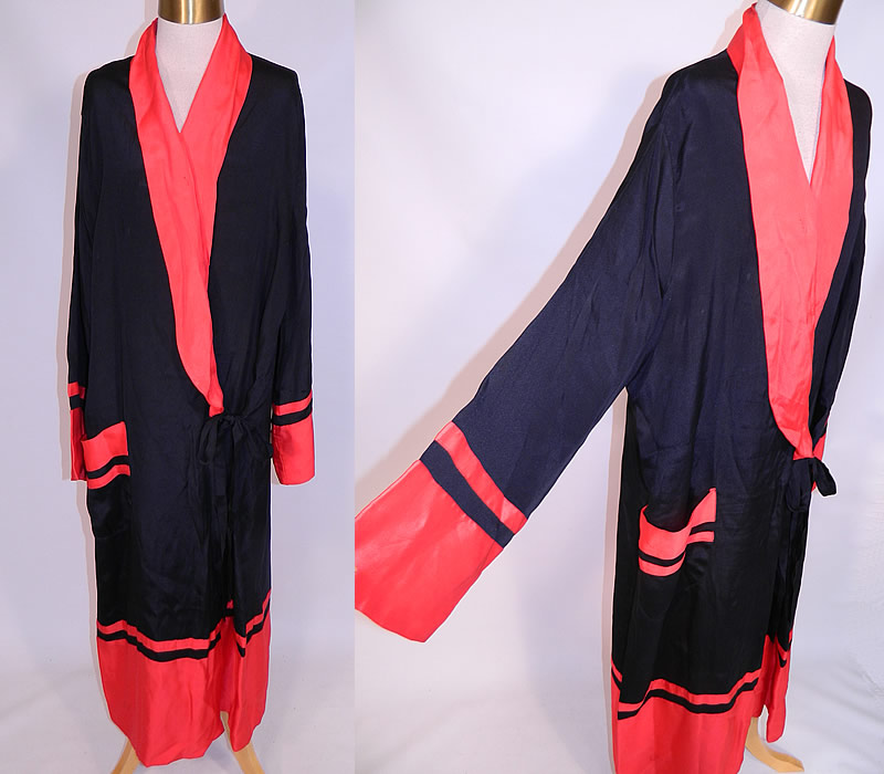 Vintage Art Deco Black & Red Silk Striped Flapper Kimono Robe Dressing Gown