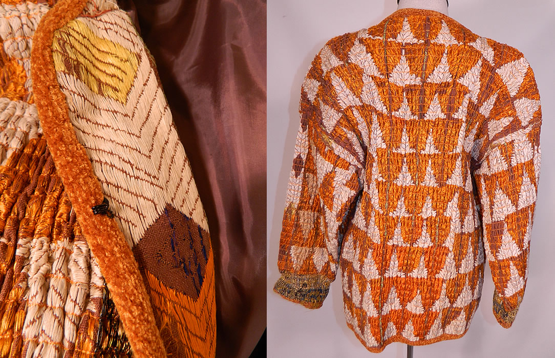 Vintage Pashtun Pakistan Swat Valley Embroidered Textile Tucks Gathering Coat