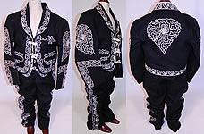 Vintage Childs Mariachi Charro Costume Suit Soutache Black White Wool Jacket Pants