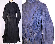 Victorian Black Silk Taffeta Bobbin Lace Mourning Gown Bodice Train Skirt Dress