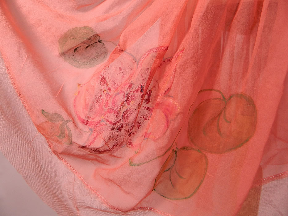 Vintage Hand Painted Lotus Flower Petal Skirt Coral Pink Silk Chiffon Dress Robe