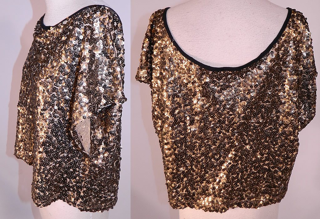 Vintage Art Deco Sheer Net Gold Metallic Sequin Beaded Blouse Shirt Top