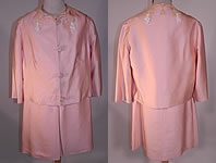 Vintage Haute Couture Athens Label Pink Raw Silk Beaded Lace Trim Dress & Jacket