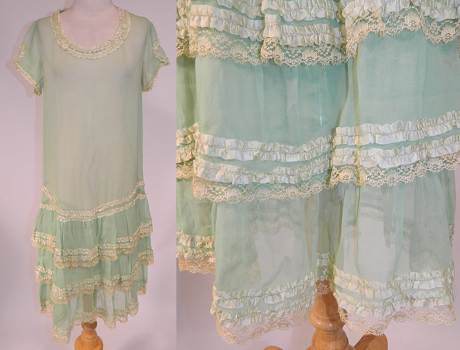 Vintage Mint Green Silk Chiffon Lace Ribbon Ruched Ruffle Trim Drop Waist Dress