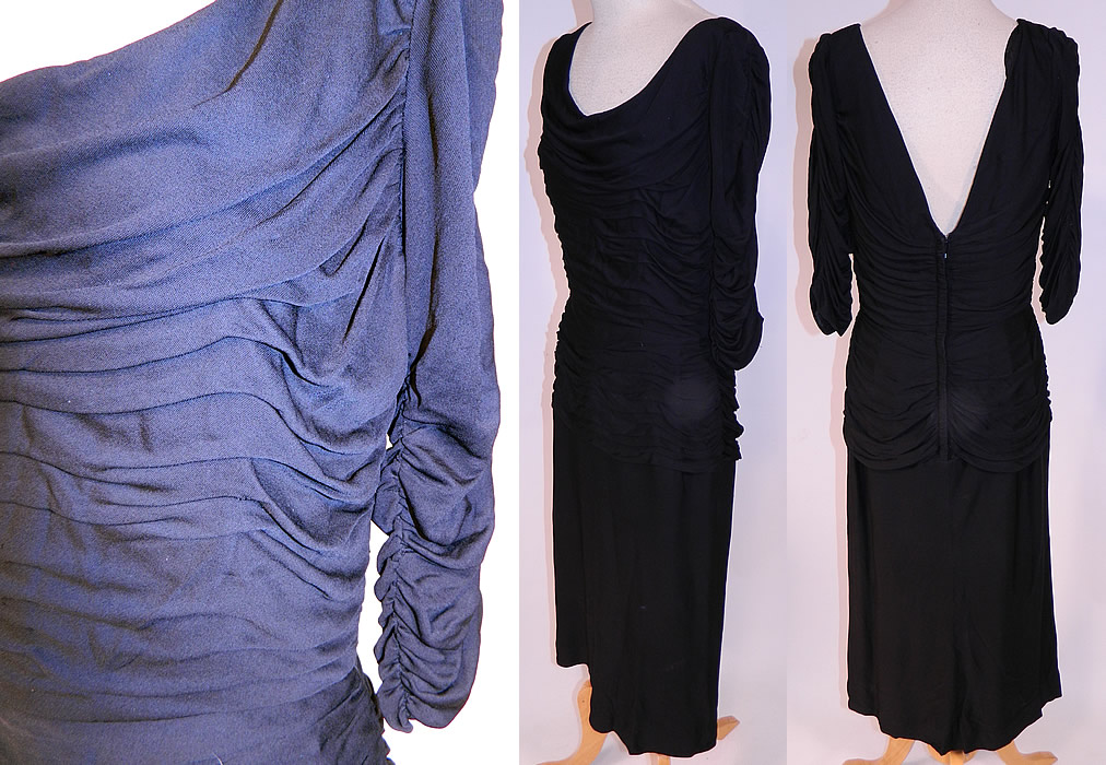 Vintage Black Silk Jersey Pleated Gathering Sexy Sheath Cocktail Dress