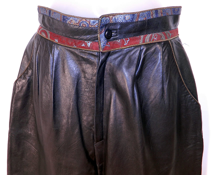 Vintage Roberto Cavalli Designer Paisley Trim Black Leather Pants Italy