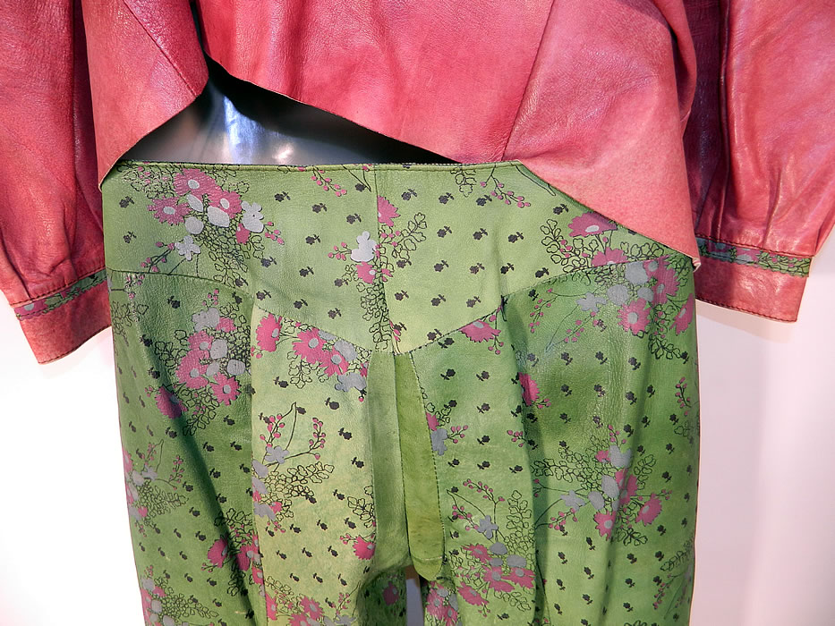 Vintage Ultimo Designer Label Green Leather Floral Print Pants & Red Jacket