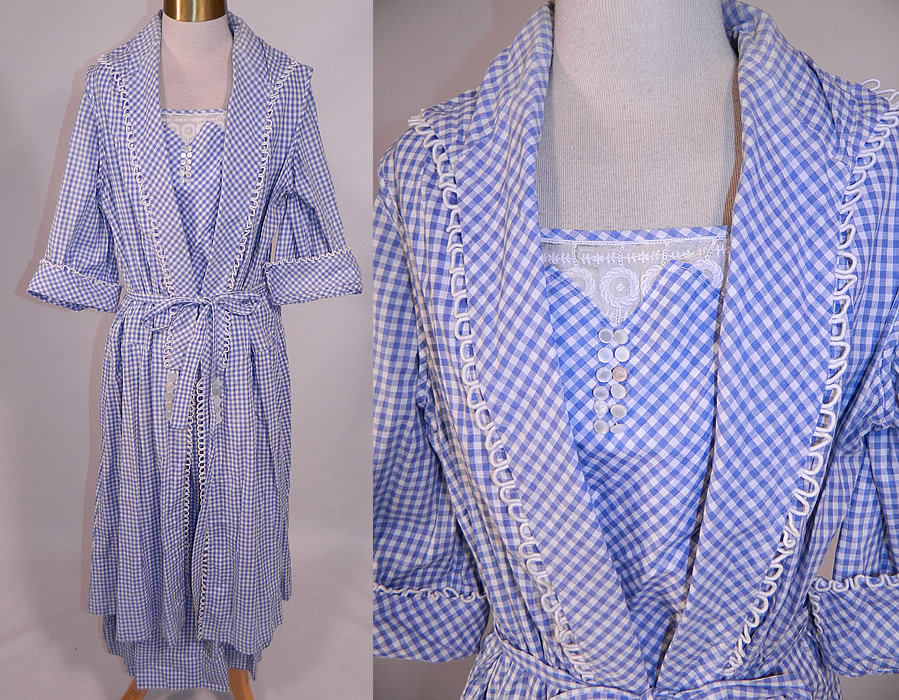 Edwardian Blue & White Gingham Check Cotton Pinafore Belted Day Dress