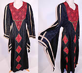 Vintage Al-Karnak Jordan Bedouin Kaftan Jalabiya Thobe Embroidered Belted Back Maxi Dress