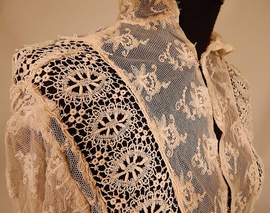 vintage edwardian ecru cream tambour embroidery net mixed la
