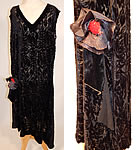 Vintage Art Deco Black Floral Burnout Voided Velvet Silk Drop Waist Flower Flapper Dress
