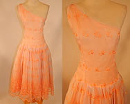Vintage Peach Pastel Organdy Eyelet Embroidered One Shoulder Circle Skirt Dress