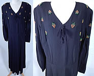 Vintage Eisenberg Originals Black Silk Crepe Strawberry Beaded Cocktail Dress