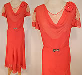 Vintage 1930s Red Silk Chiffon Cream Lace Floral Trim Belted Bias Cut Day Dress