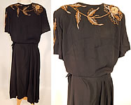 Vintage Eisenberg Originals Black Silk Crepe Gold Flower Beaded Cocktail Dress