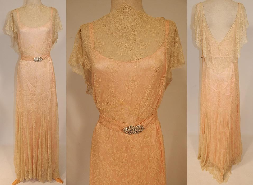 Vintage Cream Chantilly Lace Belted Bias Cut Dress Wedding