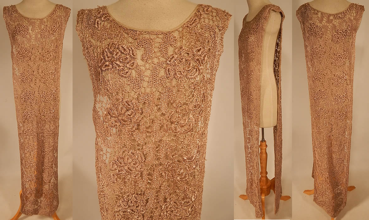 Vintage Ecru Embroidered Crochet Lace Net Tabard Tunic Flapper Dress