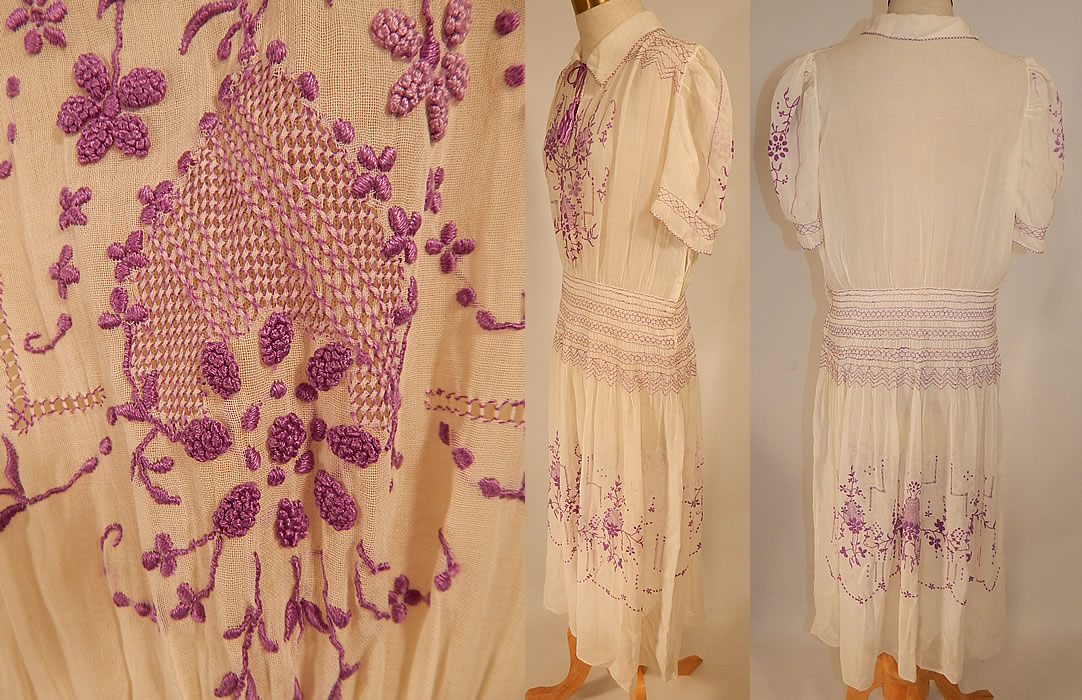 Vintage White Cotton Purple Embroidered Smocking Boho Peasant Drop Waist Dress