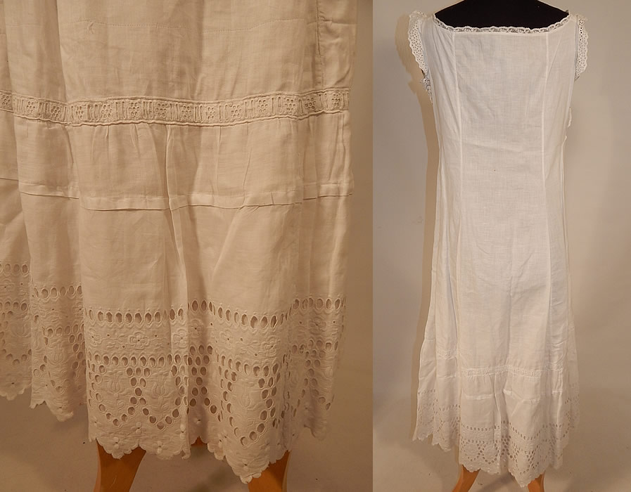 Edwardian White Cotton Embroidery Eyelet Cutwork Broderie Anglaise Lace Full Slip Dress