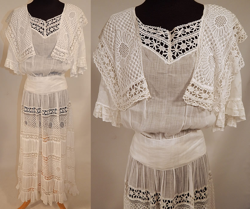 Edwardian White Cotton Batiste Bobbin Lace Belted Graduation Wedding Dress