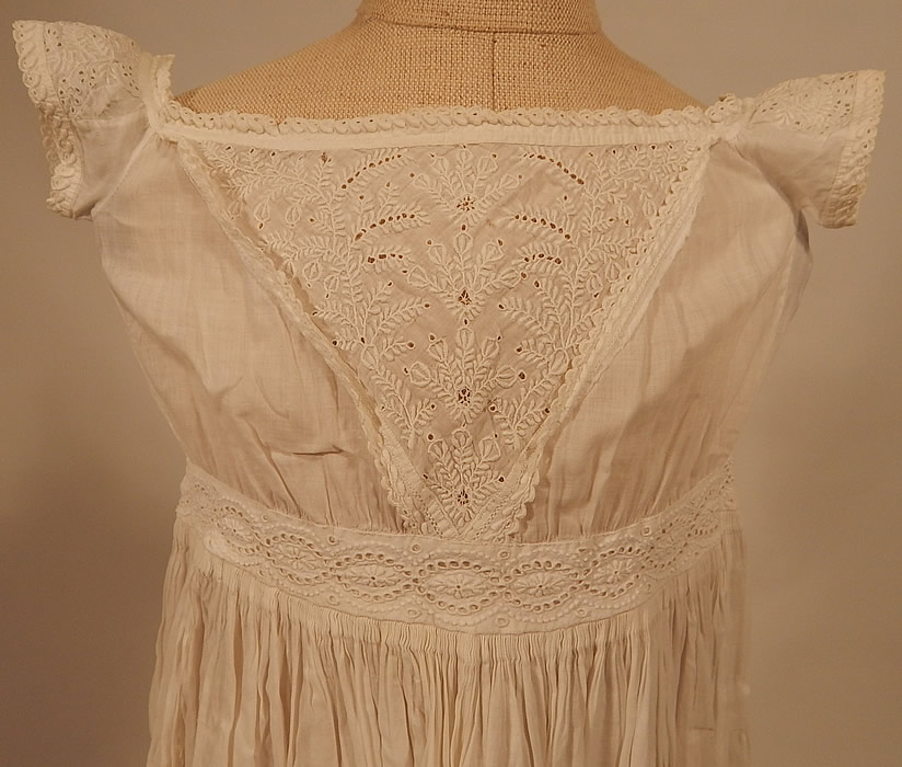 Victorian Antique Ayrshire Whitework Cotton Batiste Christening Gown Infant Dress