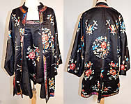 Antique Chinese Black Silk Embroidered Peony Flower Butterfly Robe & Camisole