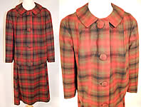 1950s Vintage Womens Pendleton Plaid Tartan Virgin Wool Suit Jacket & Skirt