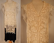 Vintage 1920s White Filet Lace Crochet Trim Black Silk Pleated Skirt Drop Waist Dress