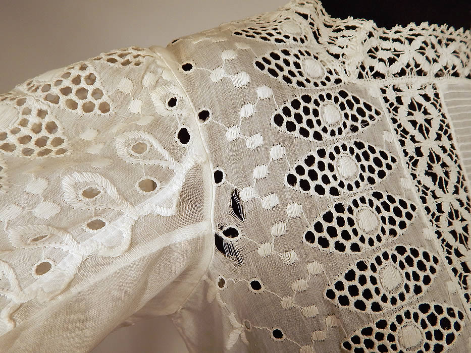 Victorian White Cotton Broderie Anglaise Eyelet Embroidery Cutwork Lace Girls Dress