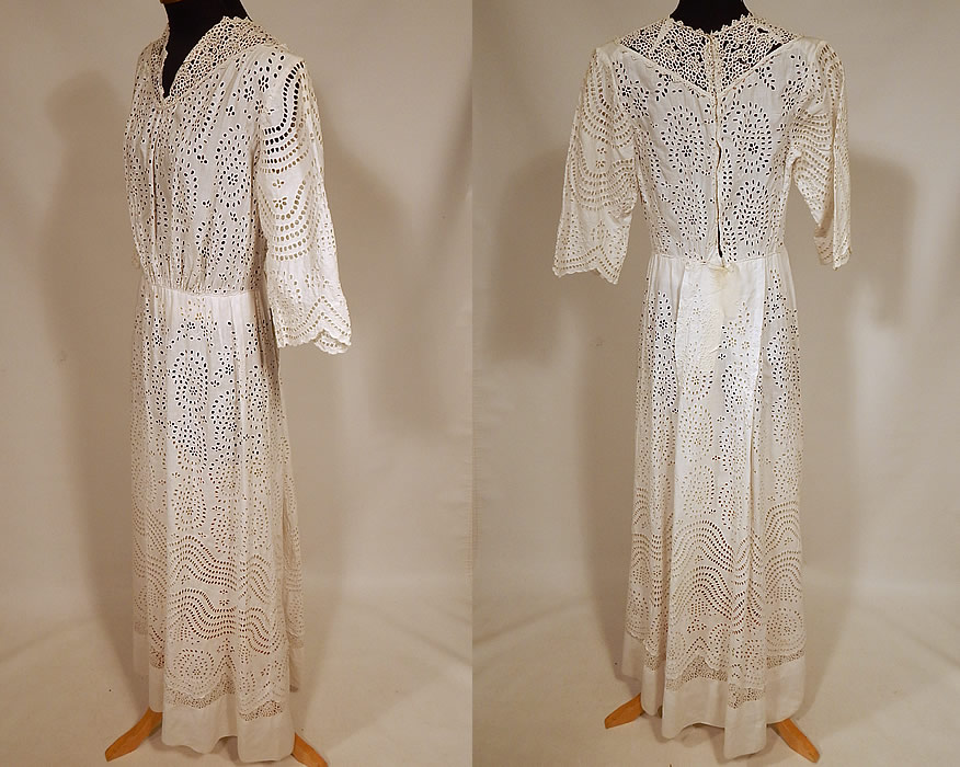 Victorian White Cotton Batiste Broderie Anglaise Eyelet Embroidery Cutwork Lace Dress