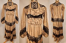 Victorian Brown & White Cotton Calico Striped Black Lace Trim Gown Dress